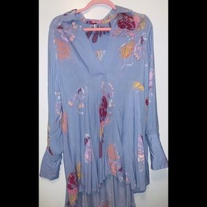 Free people light blue collared tunic dress size M